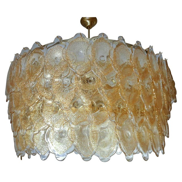Brass Gold Cloud Chandelier by Mazzega For Sale - Image 7 of 7