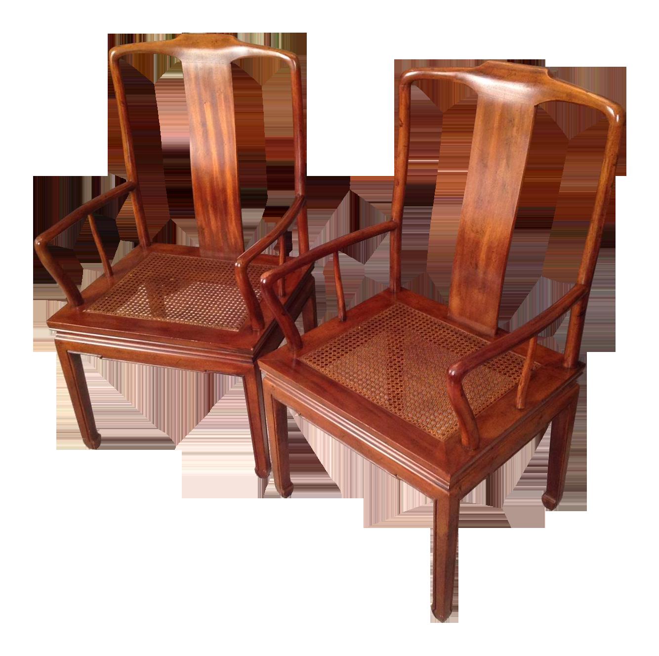 sc 1 st  Chairish & Henredon Asian Cane Dining Arm Chairs - Pair | Chairish