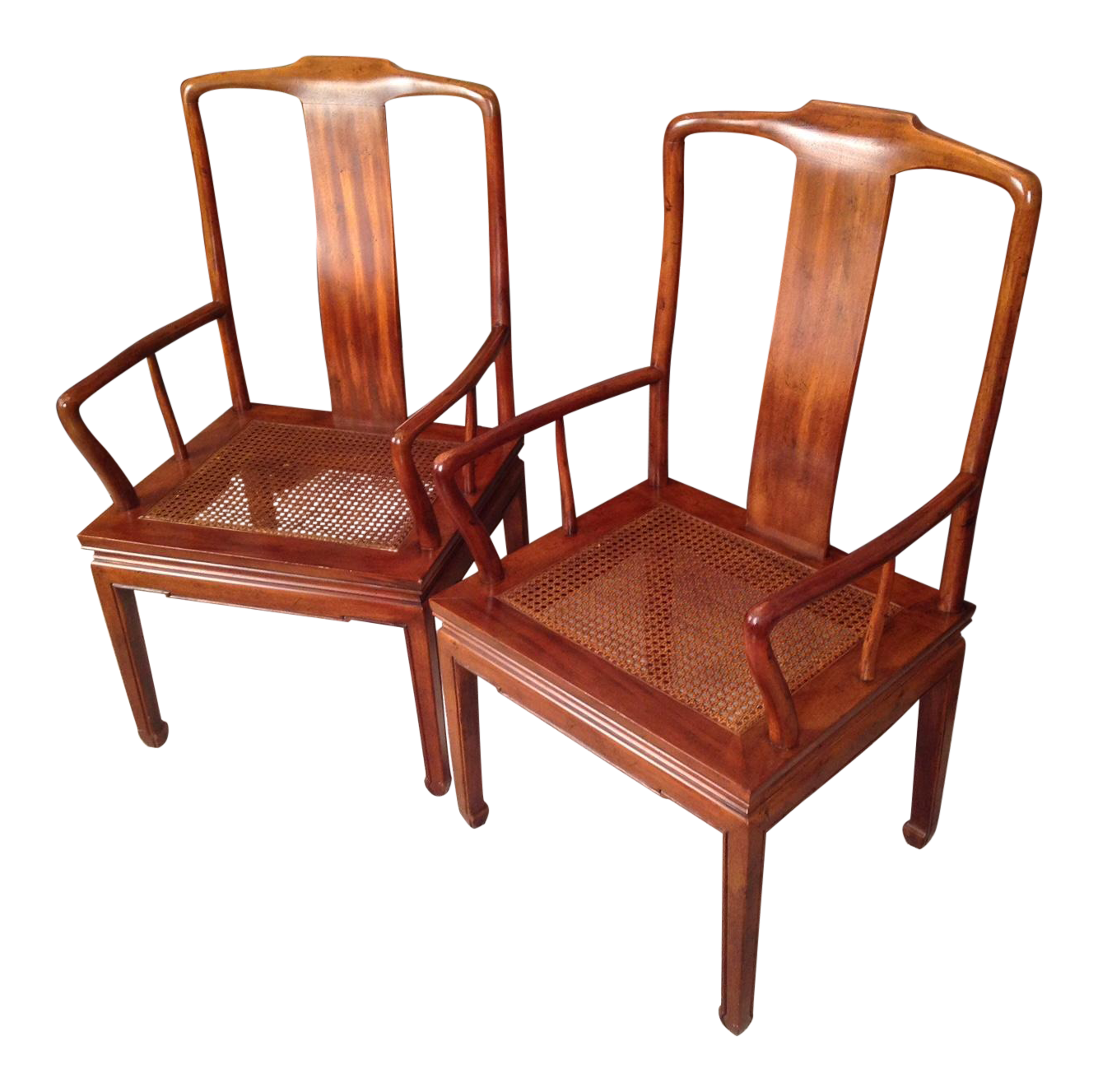 Henredon Asian Cane Dining Arm Chairs   Pair