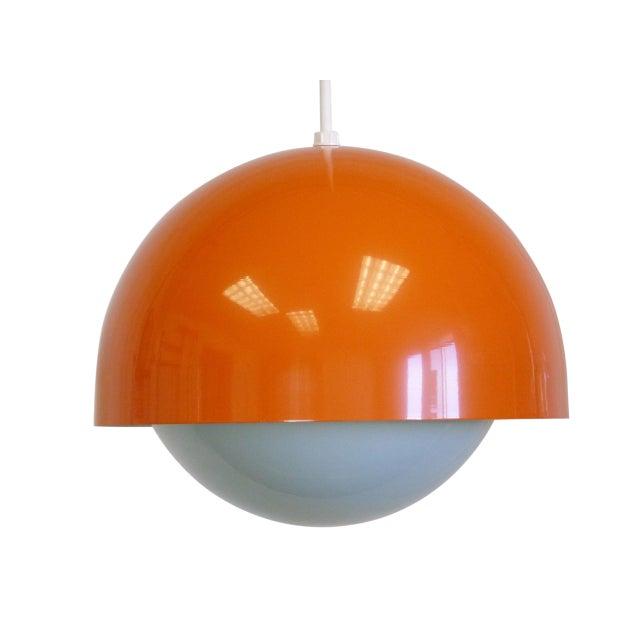 Orange Dome Mid-Century Pendant Lamp, New Old Stock - Image 1 of 9