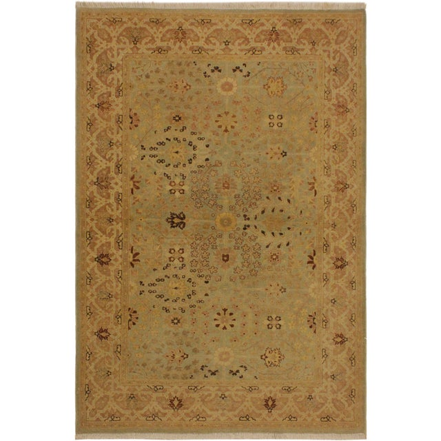 Blue Istanbul Lakh Lt. Blue/Lt. Tan Turkish Hand-Knotted Rug -4'3 X 6'1 For Sale - Image 8 of 8