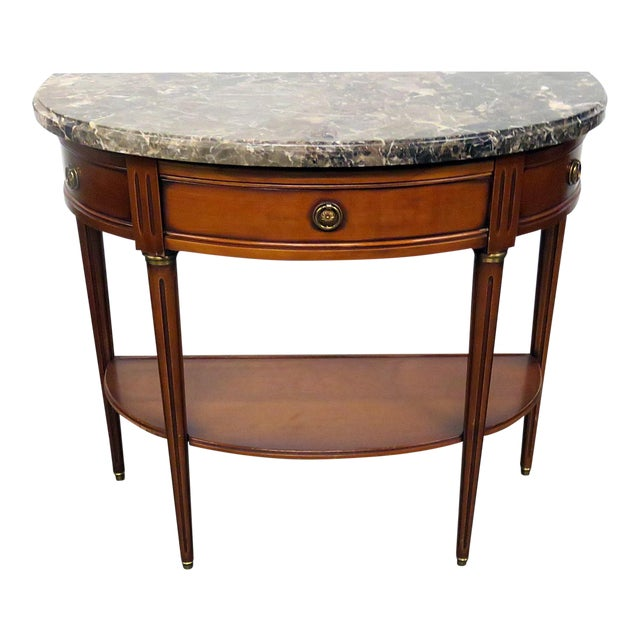 Directoire Style Marble Top Demi-Lune Console Table For Sale
