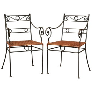Midcentury French Painted Iron Outdoor Armchairs-A Pair For Sale