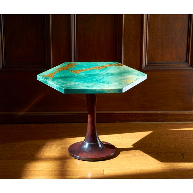 Gold 1950's Aldo Tura Hexagonal Side Table For Sale - Image 7 of 11