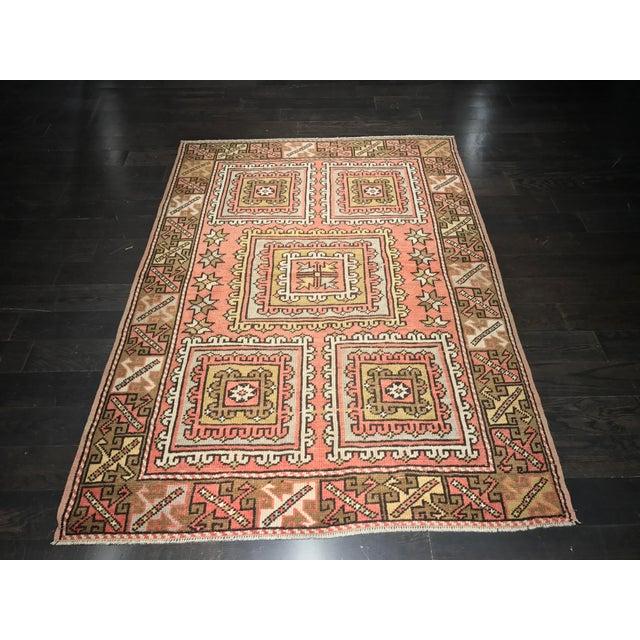 "Vintage Square Pattern Turkish Oushak Rug - 4'2"" x 6' - Image 2 of 11"