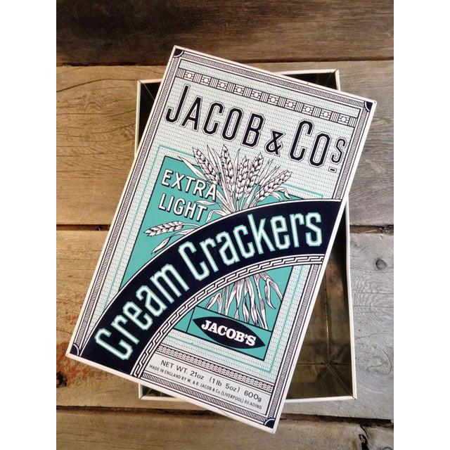 Blue Vintage 'Jacob & Co' Tin Cracker Box For Sale - Image 8 of 10