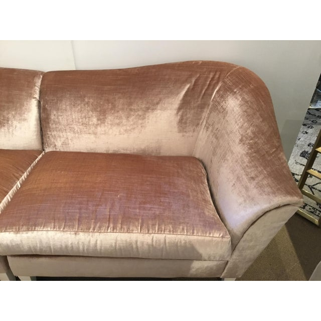 Stylish Chic Caracole Modern Blush Velvet Two Piece Sofa, white wood finished tapered feet, showroom floor sample