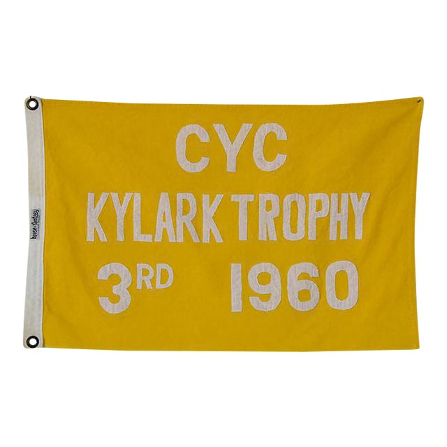 1960 Historic Cleveland Yacht Club Trophy Winning Flag For Sale