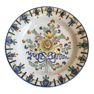 Antique Delft Pottery Ceramic Hand Painted Bowl Charger For Sale