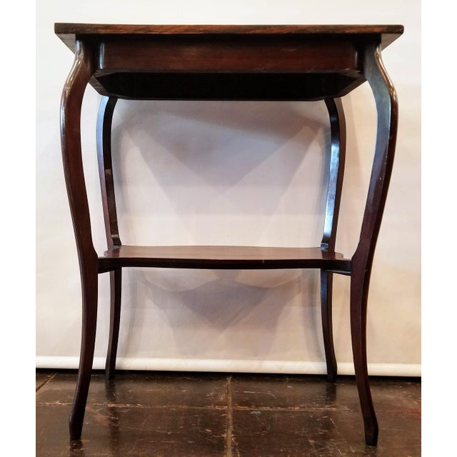 1900s Anglo-Indian Raj Rosewood Marquetry Parlor Table For Sale - Image 4 of 7