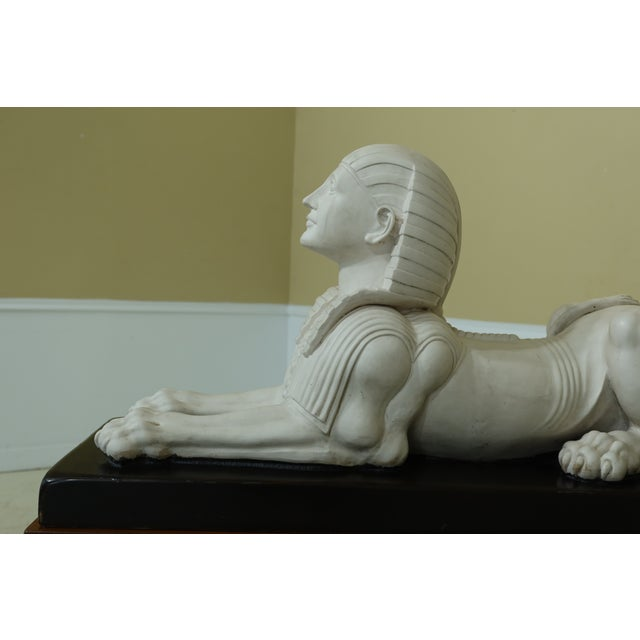 1990s Theodore Alexander Sphinx Statue on Wood Base & Pedestal For Sale - Image 5 of 11
