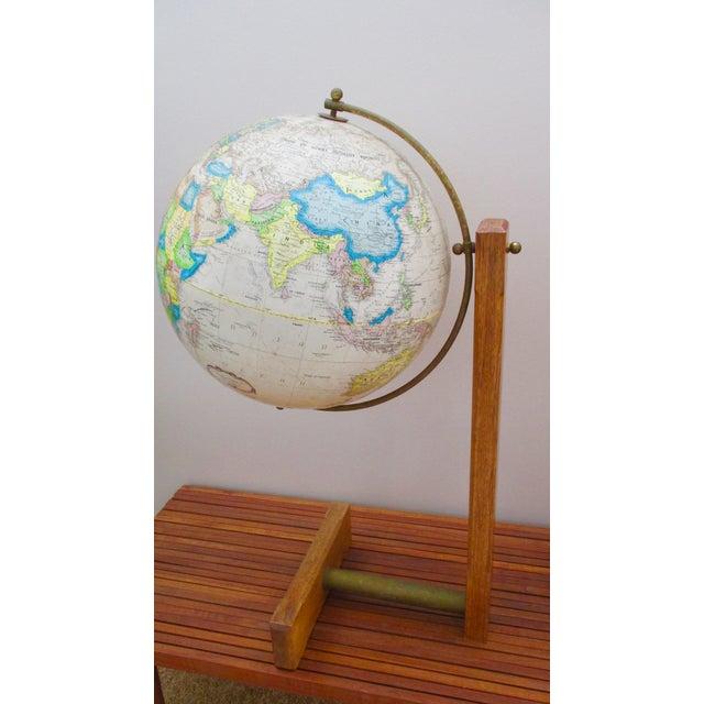 Metal Sleek Modernist Floor Globe on Wood & Metal Stand For Sale - Image 7 of 11