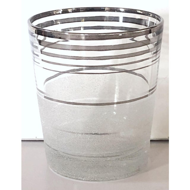 Mid-Century highball glasses have a great contemporary look. Set of 11. Bottom half is textured with a triple stripe of...