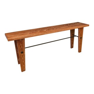 Custom Mahogany Cerused Oak & Iron Console Table