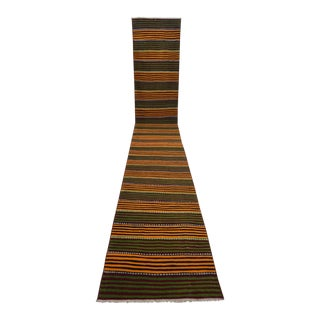 Vintage Turkish Handwoven Striped Kilim Extra Long Runner - 2″ × 1′7″ For Sale