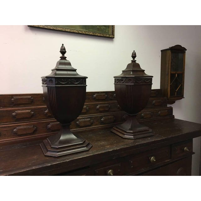 Late 1700s Original Mahogany Cutlery Urns- Set of 2 For Sale - Image 9 of 9
