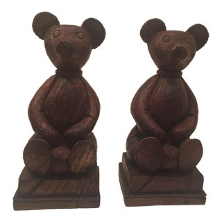 Vintage Teddy Bear Hand Carved Hazelbury House Bookends - a Pair For Sale