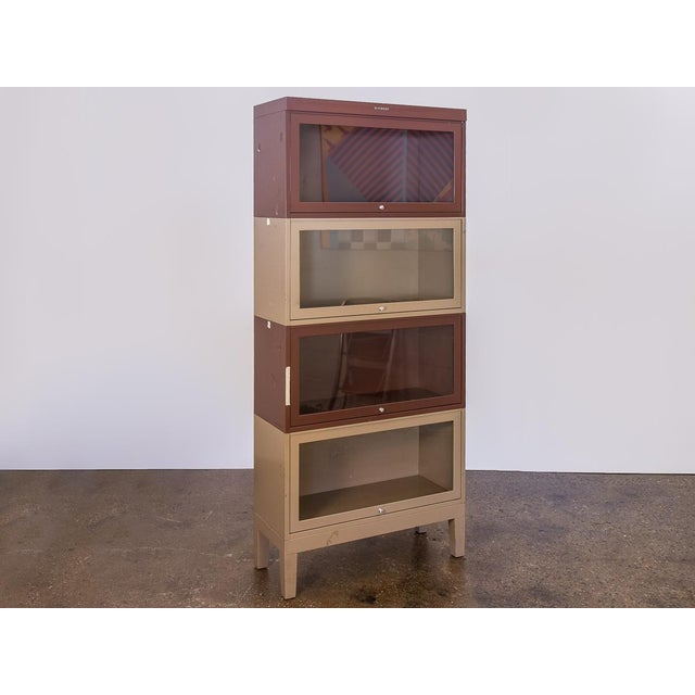 Glass Two-Tone Tall Metal Barrister Bookcases - 2 pieces For Sale - Image 7 of 9