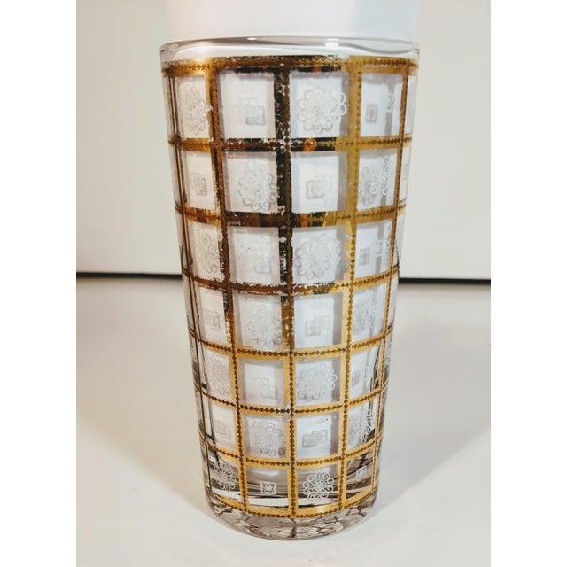 Culver Ltd. Vintage Gold Highballs Glasses Barware Bar Geometric Floral White - Set 8 For Sale - Image 4 of 8