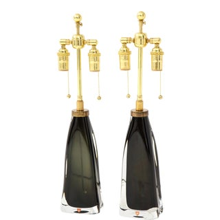 Orrefors Forest Green Crystal Lamps - a Pair For Sale
