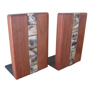 Jane & Gordon Martz for Marshall Studio Walnut and Tile Bookends - a Pair For Sale