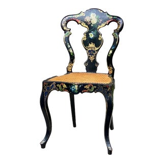 Antique English Gilt and Polychrome Chair For Sale