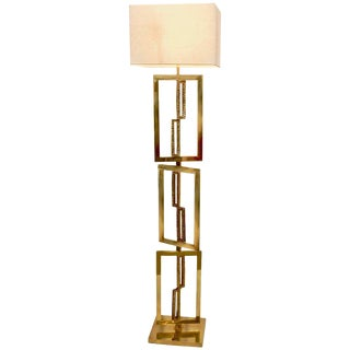 Italian Contemporary Cast Bronze and Gold Brass Rectangular Floor Lamp For Sale