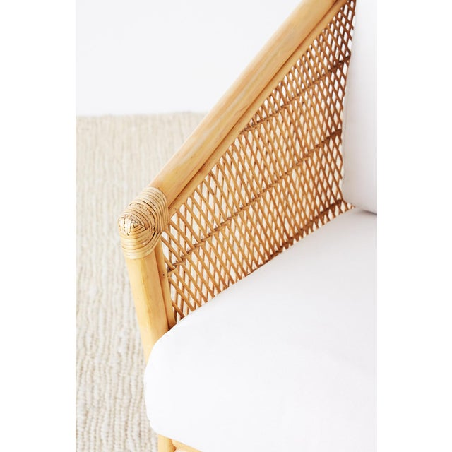 Tan Midcentury Bamboo Rattan Wicker Lounge Chair For Sale - Image 8 of 13