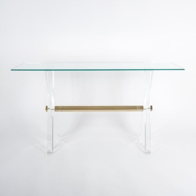 Pierre Vandel Lucite and Brass X Frame Console Table, Circa 1970 For Sale - Image 4 of 13