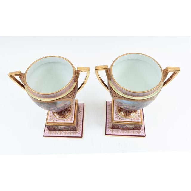 Gold Antique Royal Vienna Porcelain Decorative Urns - a Pair For Sale - Image 8 of 13