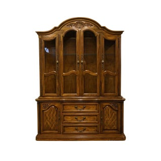 20th Century French Country American Drew Illuminated China Cabinet For Sale