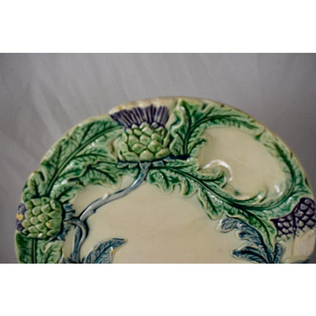 French Fives-Lille Majolica Artichoke & Asparagus Plate, Circa 1890 For Sale - Image 3 of 7