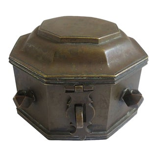 Antique Bronze Traveling Inkwell For Sale