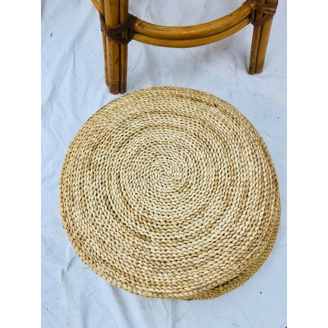 Set Vintage Bamboo & Wicker Stools For Sale - Image 10 of 11