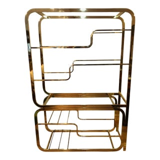 Milo Baughman Design Institute of America Brass and Glass Etagere For Sale