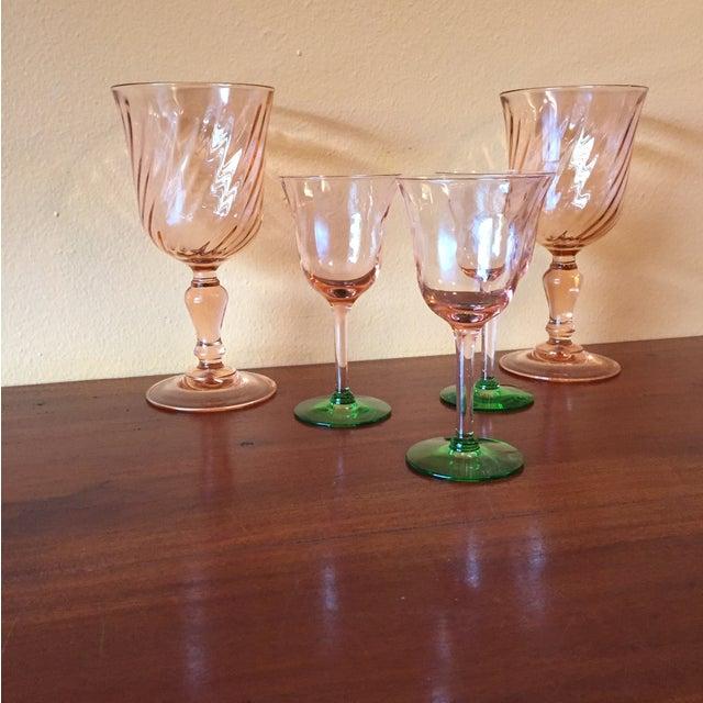 Art Deco Pink Glass Stemware - Set of 5 - Image 4 of 10
