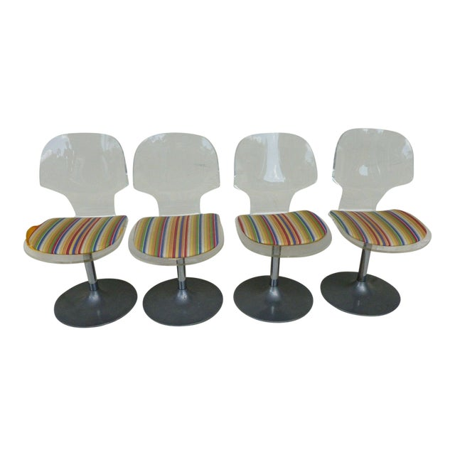 Set of 4 Space Age Mod 70's Lucite and Aluminum Swivel Chairs For Sale