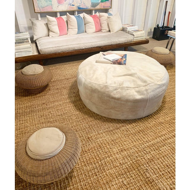 Forsyth Large Round Cowhide Ottoman For Sale - Image 4 of 5