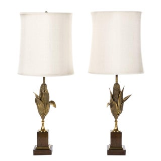 Pair Maison Charles Bronze Corn Husk Lamps For Sale