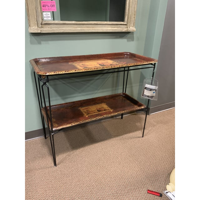 French Two Tier Metal Tole Tray Console or Accent Table For Sale In Detroit - Image 6 of 11