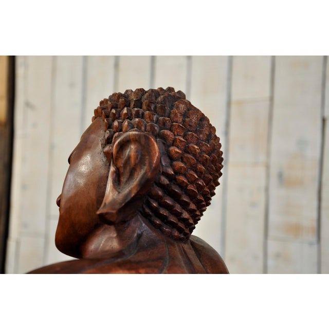 Hand Carved Thinking Buddha Statue Suar Wood Sculpture Bali Art For Sale In New York - Image 6 of 11