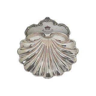 Vintage English Silver-Plate Shell Dish W/ Crown For Sale
