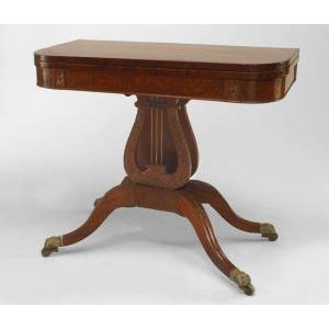 Brown American Federal Style (19th Cent) Mahogany Flip Top Console/Card Table With Lyre Base For Sale - Image 8 of 8