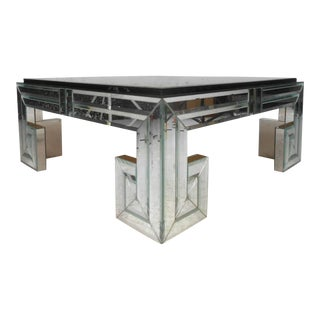 Modern Mirror and Glass Coffee Table For Sale