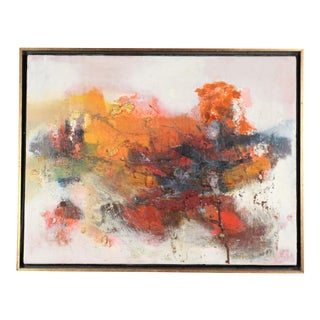 Vintage Mid-Century Textured Modern Abstract Expressionist Oil Painting For Sale