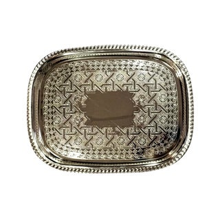 Moroccan Silver Engraved Tray For Sale