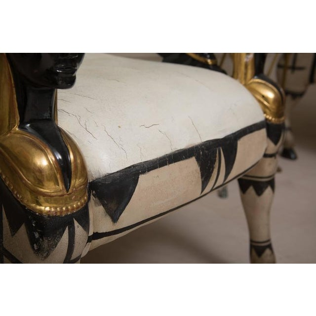 1930s Mid 20th Century Pair of Painted and Parcel Gilt Bugatti Style Armchairs For Sale - Image 5 of 10