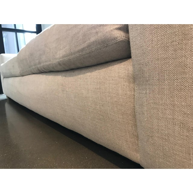 Sand Restoration Hardware Maxwell Upholstered Sofa in Belgian Linen For Sale - Image 8 of 11