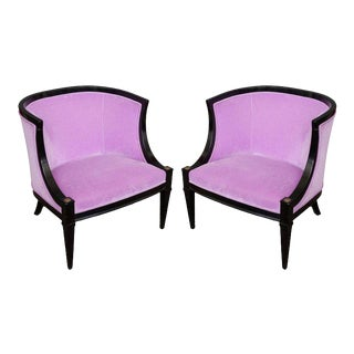 Pair of American Mid-century Modern Rounded Back Armchairs in Purple Velvet