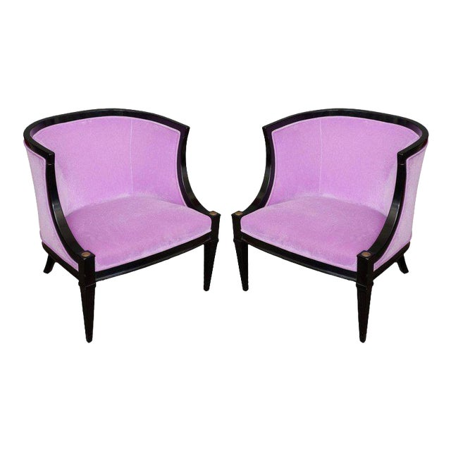 Pair of American Mid-century Modern Rounded Back Armchairs in Purple Velvet For Sale